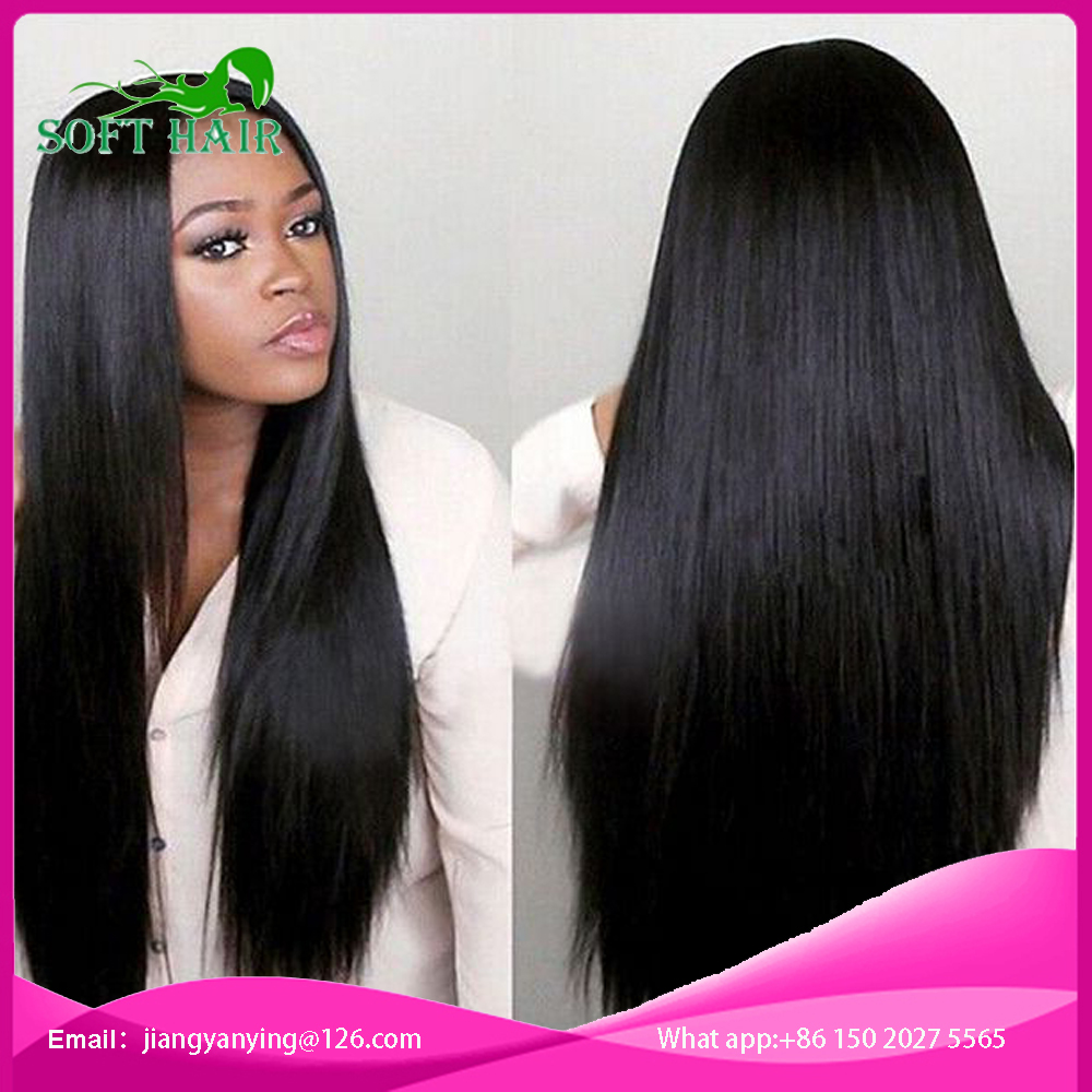 7A Full lace human hair wigs for black women Glueless full lace wigs Brazilian virgin hair straight human hair lace front wigs<br><br>Aliexpress