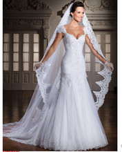 Don's Bridal Fashionable Lace Ruched Beaded V-Neckline Cap Sleeve Floor Length Sheath Wedding Dresses/Gown