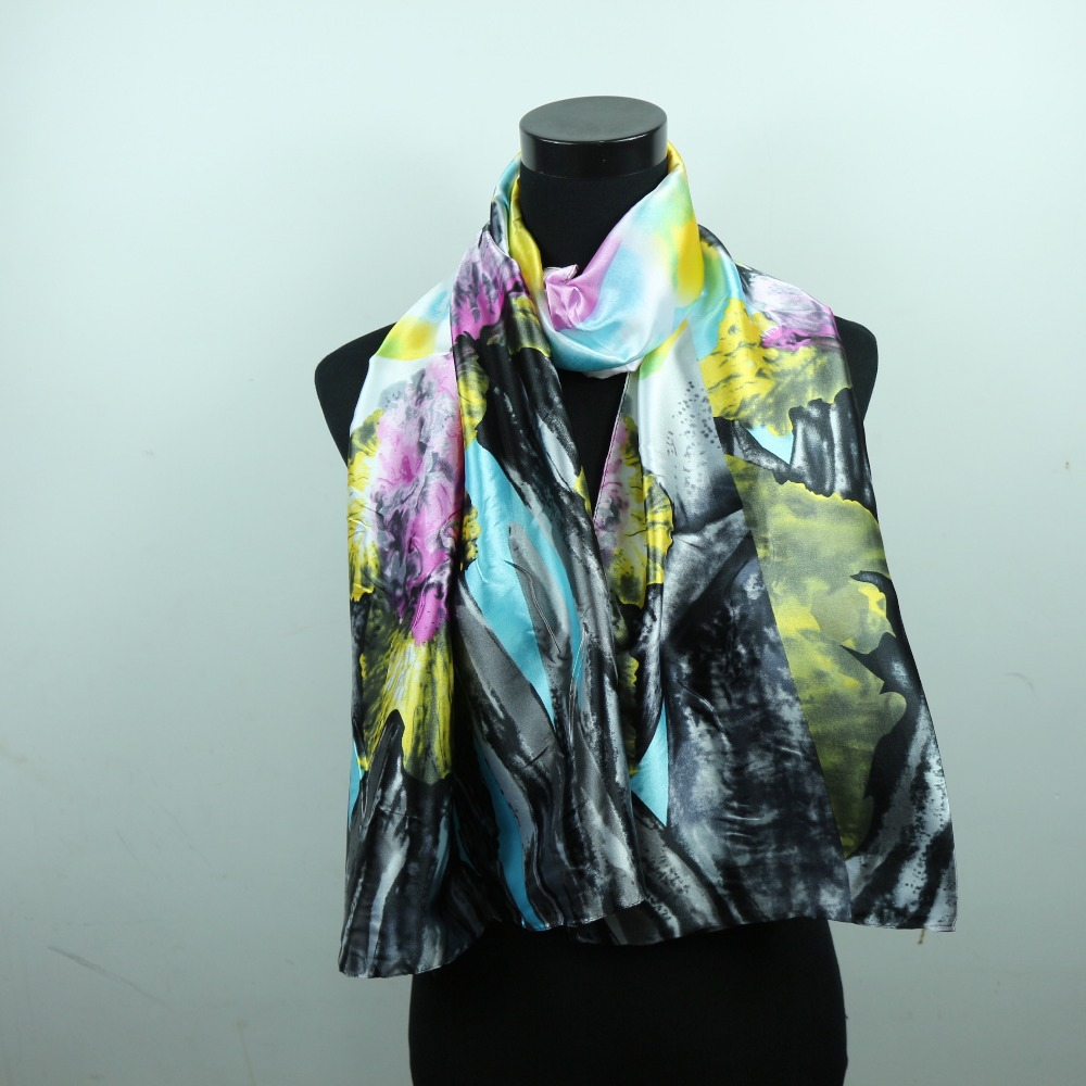 Floral Flower Women Fashion Satin Oil Painting Long Wrap Shawl Beach Silk Scarf 160X50cm style 1-20 - LZsilver JingMangZhuBao Store store