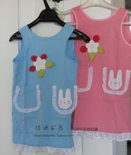 Solid ability to cultivate children's brand baby cloth applique lace strap aprons trip(China (Mainland))