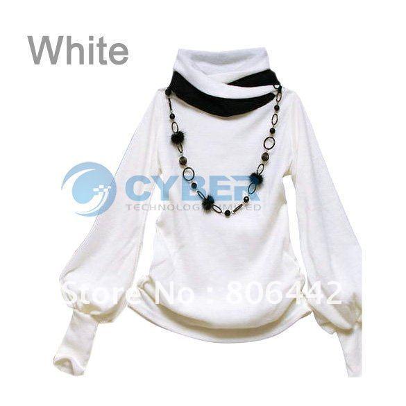 Fashion Women's T-Shirt Lantern Sleeve Long Sleeve T-Shirt 4 Colors  autumn winter casual tops 63#
