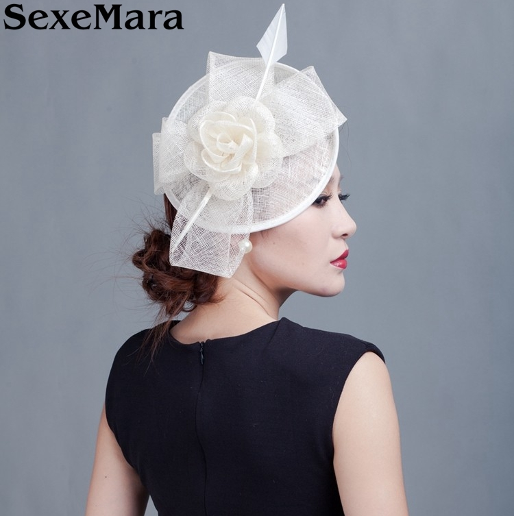 Bridal Sinamay Fascinator Philippines Sinamay Hat with Feathers for Kentucky Derby Church Wedding Cocktail Party(China (Mainland))