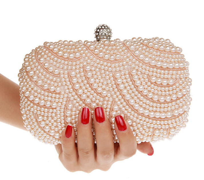 2015 Women Beading Evening Bags Vintage Pearl Wedding Party Clutch Bag Women's Chain Shoulder Ladies Handbag G02 - Ochanal Plus Size Clothing store