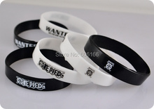 50x Anime OP ONE PIECE WANTED Silicone Bracelet Black & White wristband jewelry cosplay costume accessories - Mystery Gift Kim David store