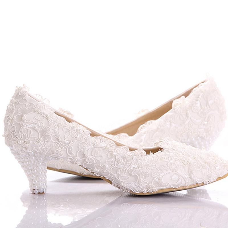 2015 white lace low heel wedding bridal shoes kitten heel