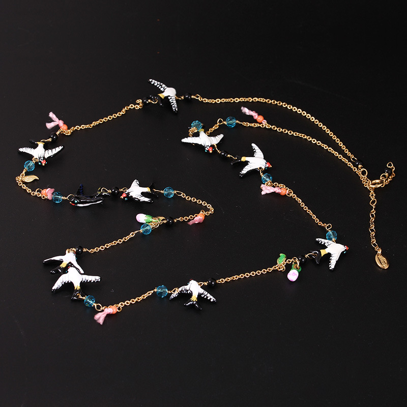 2016 Cute Promotion Collier Colar Design Luxury Cloisonne Enamel Swallows Chain Necklaces & Pendants For Women Fashion Jewelry(China (Mainland))