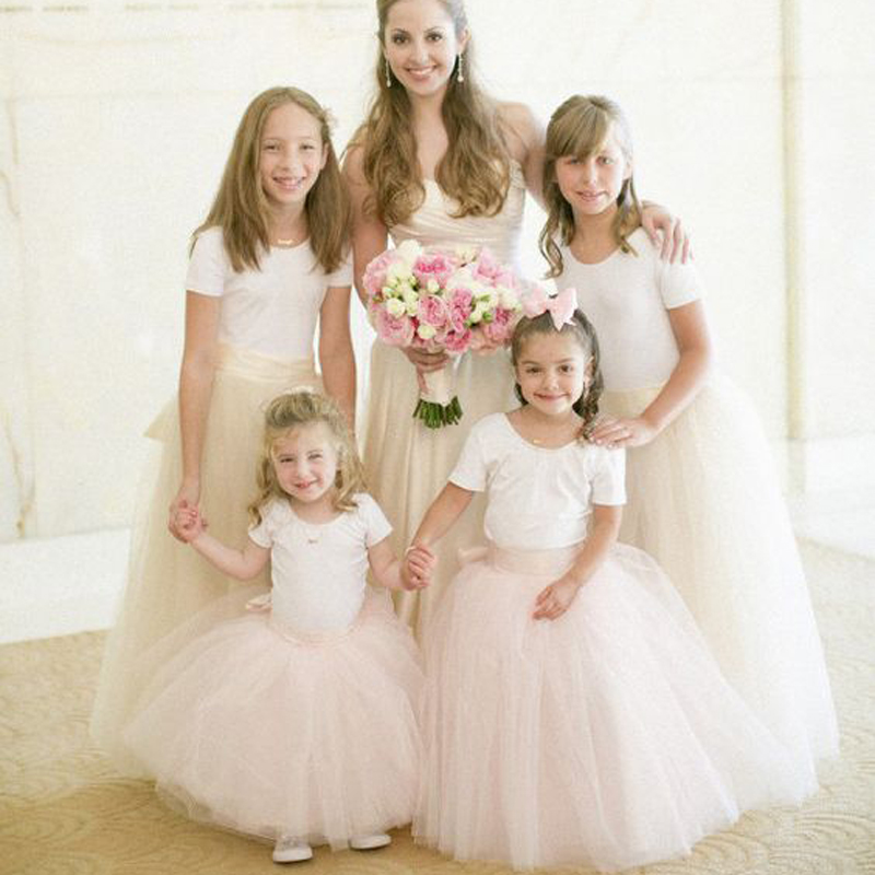 Lovely Tulle Little Flower Girl Dresses Puffy Ball Gowns Pearl Pink Ivory Floor Length Flower Girl Dress Communion Dresses(China (Mainland))