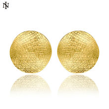 HOT sale Brand New Fashion Women Jewelry 18k Yellow Gold Big Large Round Stud Earrings Vintage Wedding Gift Free Shipping KE987A(China (Mainland))