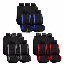 Buy 9PCS Universal Car Seat Covers Red Set Auto w/Steering Wheel/Belt Pad/Head Interior Styling Decoration Protect for $20.26 in AliExpress store