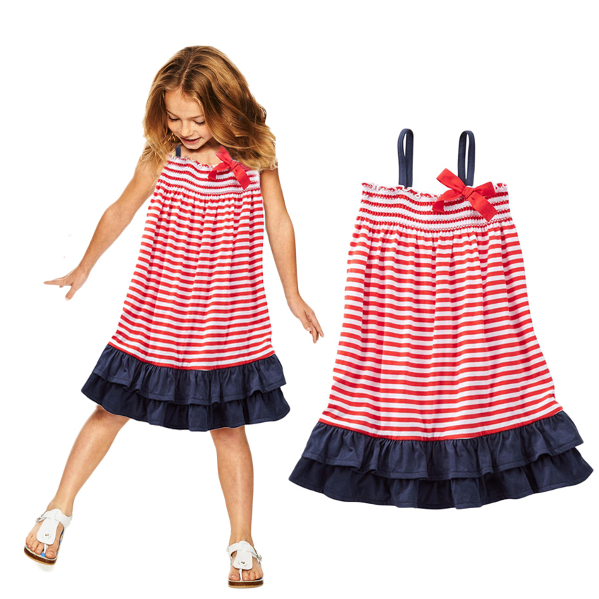 New summer style girl jersey dress red and white striped ruffle bow design retail 100% cotton kids girl clothes CX(China (Mainland))