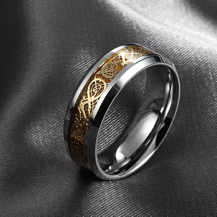 never fade Stainless steel Ring Mens Jewelry Wedding Band Silver & Gold Dragon rings for men & women(China (Mainland))