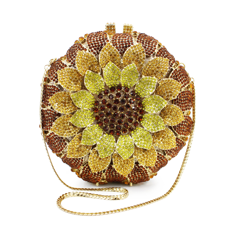 newest yellow sunflower shape diamond crystal clutch evening bag ladiespurse (88165A-GY)(China (Mainland))