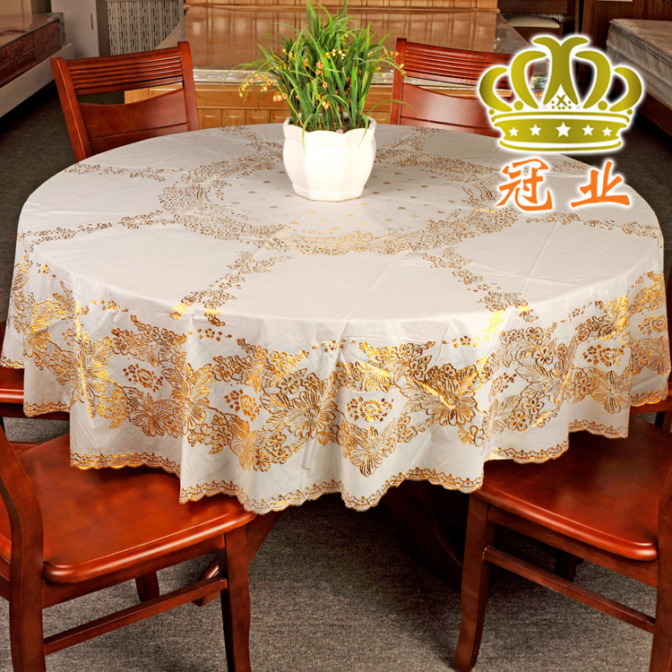 High Quality PVC Tablecloth Round Table Cover 134cm 152cm 185cm In diameter Round Lace Beauty christmas tablecloth Table Overlay(China (Mainland))