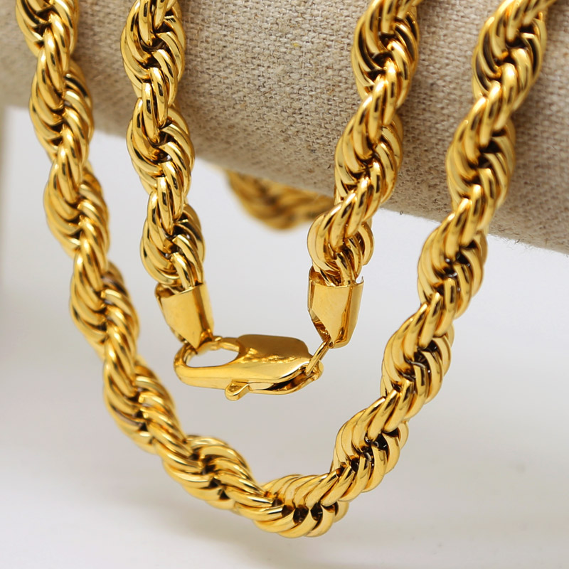 Men hip hop Solid Rope Chain 24K Gold Plated Twisted Long Heavy Dookie Necklace Young Jeezy Style Chain(China (Mainland))