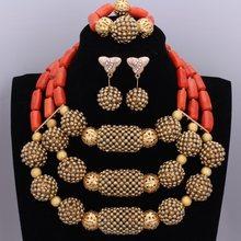 Reinem Weiß und Gold Braut Schmuck Set Bälle Hochzeit Schmuck Set Afrikanische Nigerian Perlen Halskette Ohrringe Armband Set 2018(China)