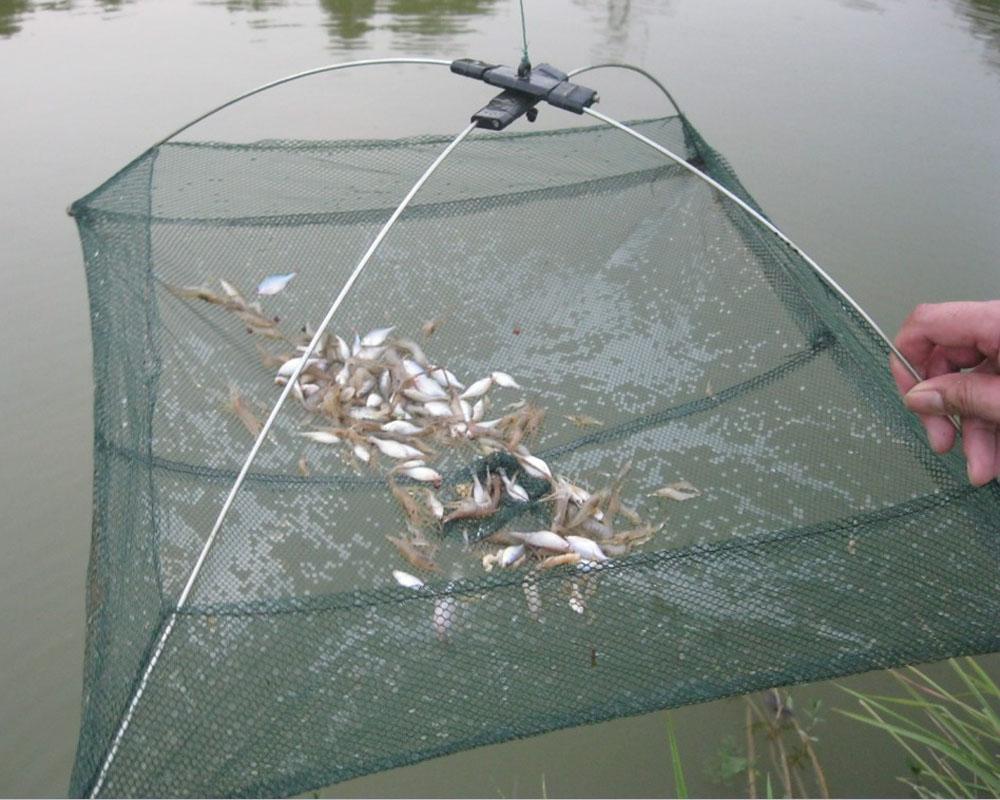 60*60cm Fishing Foldable Mesh Baits Trap Cast Dip Net Crab Shrimp Smelt Eel Crab Lobster Minnows Shrimp Crawfish Net(China (Mainland))