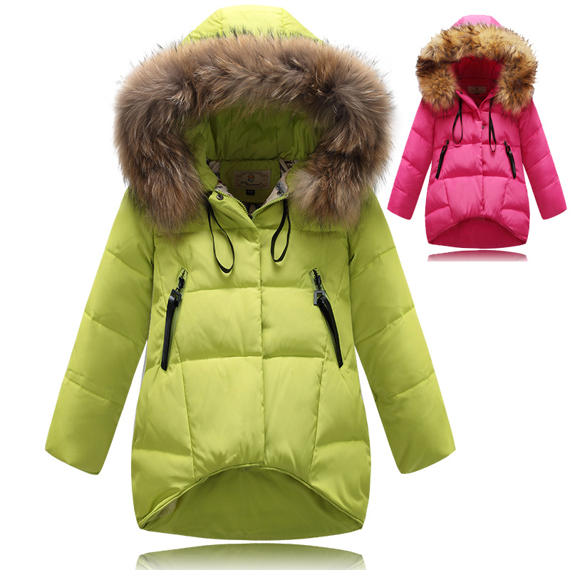Hot 2015 Brand Casual Children Parka Girls Winter Coat Long Duck Thick Faux Fur Hooded Jacket