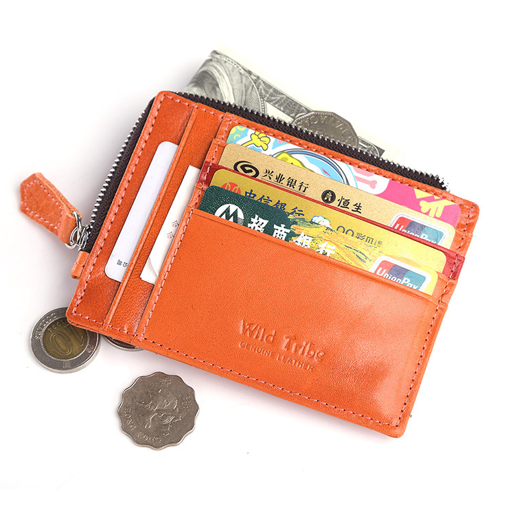 Free shipping unisex women genuine leather cool purse clutch wallet simple card holder bag ID credit card coin holder multicolor(China (Mainland))