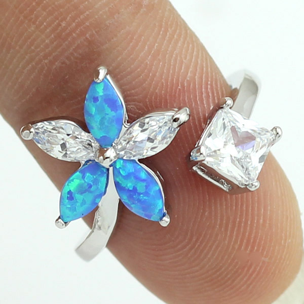 Wholesale Retail Blue Fire Opal Stones CZ Flower Claw Inlay Prong Setting Women Rings Size 4 5 6 7 8(China (Mainland))