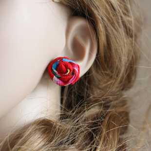 New Original Ethnic jewelry Chinese wind National flavor stud earrings,handmade rose flowers fabric pin earrings colorful(China (Mainland))