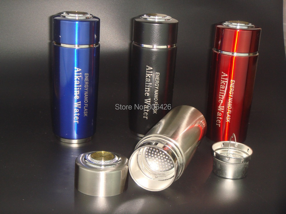 Free Ship 304stainless steel Alkaline bottle/flask 4 colors+ dual energy filter replacement+ thermos funtion(China (Mainland))