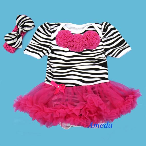 Baby Hot Pink Zebra Rosettes Bodysuit Pettiskirt and Headband 0-18M(Hong Kong)