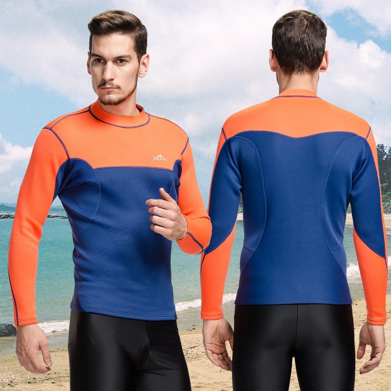 Sbart neoprene wetsuit 2mm surf swim tops men long swim shirt thermal swim top fitness dive swimming suit(China (Mainland))