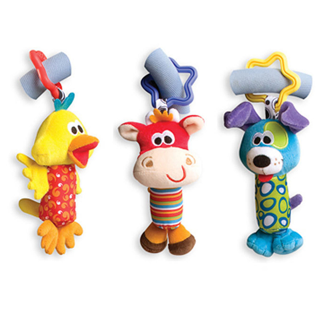 Kid Baby Toys Rattle Tinkle Hand Bell Multifunctional Plush Stroller Cute Animal Duck Dog Fawn Toy