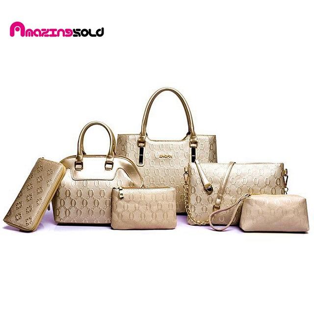 Фотография 6pcs/Set Pu Leather Handbag Fashion Women Messenger Bags Ladies Brand Designs Bags Handbag+Messenger Bag+Purse