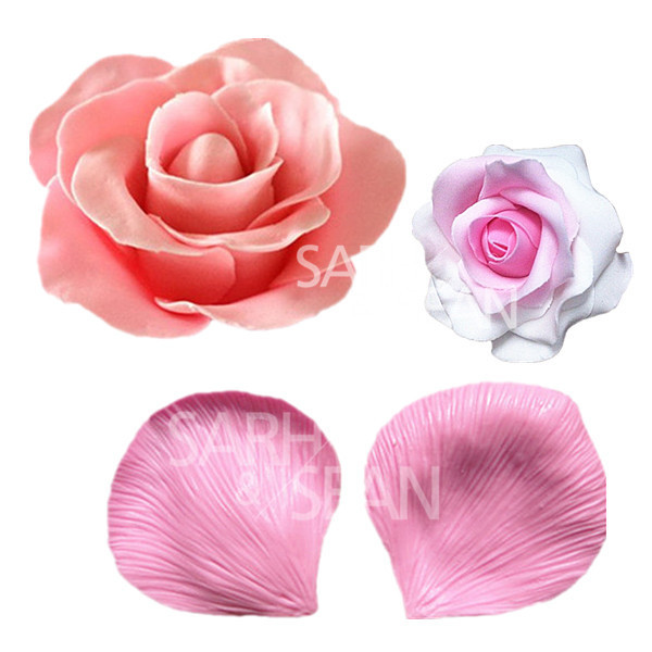 JM021 Big ROSE flower petals fondant cake molds Fondant decoration soap chocolate mould for the kitchen baking cake tool(China (Mainland))
