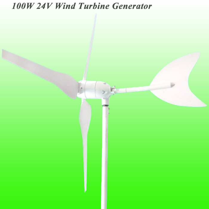 Hot Selling 3 Blades DC24V 100W Wind Turbine Generator With CE/ROHS/ISO9001 Approved & Long Life Time(China (Mainland))