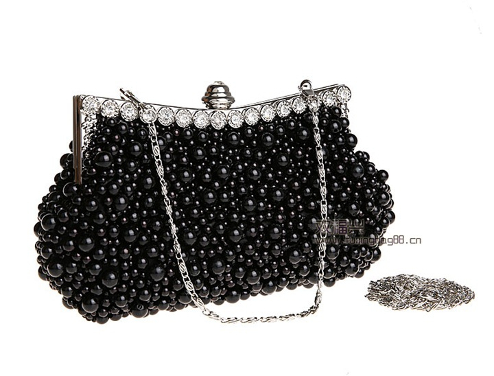 Small Handbag New 2015 Ladies Pearl Beading Clutch Evening Bags Wedding Bridal Party Bag Metal Chains Shoulder Black / Beige - Ochanal Plus Size Women Clothing store