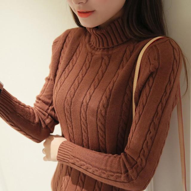 Осенью и зимой женщин витая свитер женский утолщение основной пуловер свитер