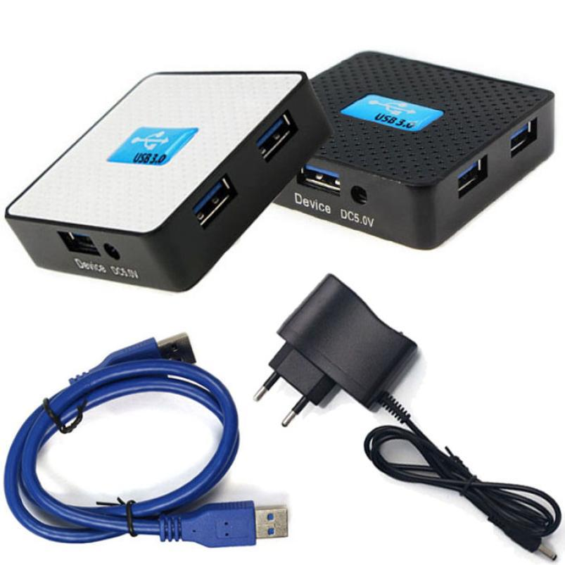 Гаджет  New EU 5Gbps External USB 3.0 4 Ports Hub Adapter With Power Adapter For PC Computer Just for you None Компьютер & сеть