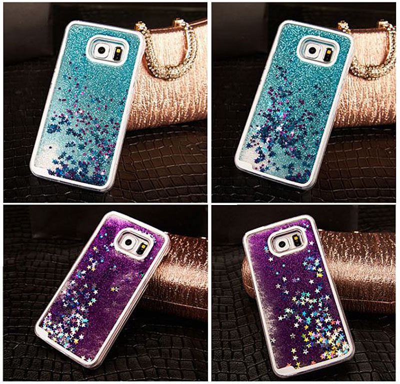 Fashion Glitter Bling Colorful Dynamic Sand Quicksand Star Liquid Hard Back Cover Case For Samsung A5 A7 S4/5/6/7 Edge Note2 3 4