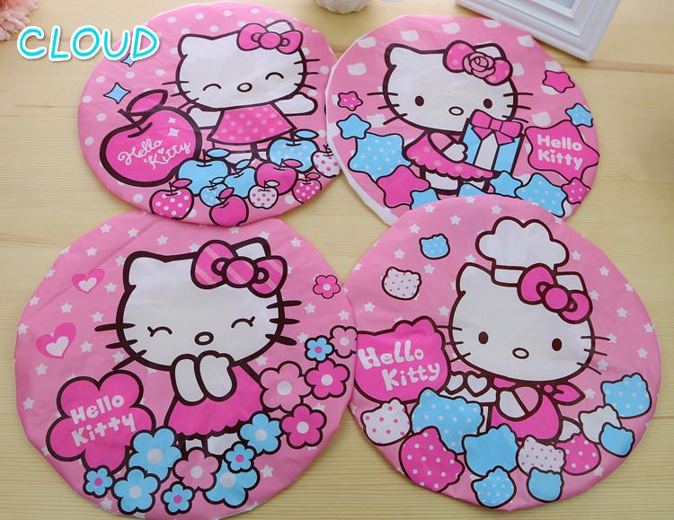 2016 New Hair Shower Cap Hello Kitty Korean Cartoon Kt Cat Creative Waterproof Shower Cap Dust Baking Oil Thick Style(China (Mainland))