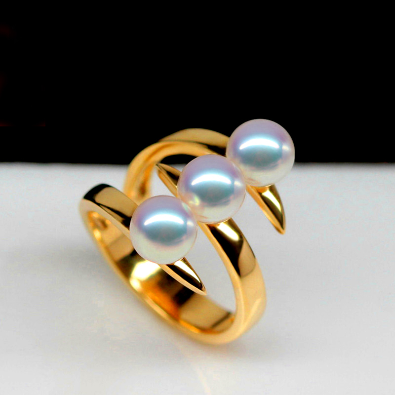 Natural Akoya Round Seawater Pearls Ring Fine Jewelry For Women white pearls 18KT yellow gold wedding rings Mutilayer design<br><br>Aliexpress