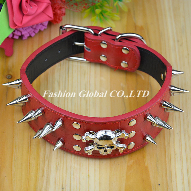 High Quality Pet Products Spiked Studded PU Leather Dog Pet Collar for Big Dogs PitBull Mastiff