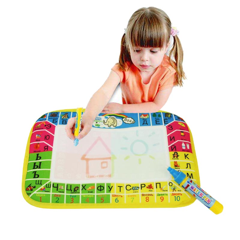 Russian Magic Water Drawing Mat Writing Doodle with Pen Child's Non-toxic Drawing Board Mat For Baby Play Education 16.5x25cm(China (Mainland))