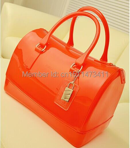 Orange candy bag candy colored jelly bag Boston pillow tote shoulder bag women's handbag 2014 hot sell(China (Mainland))