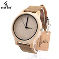 BOBO BIRD A22 Brand Design Bamboo Wood Casual Watches for Men Women laides Genuine Leather Strap