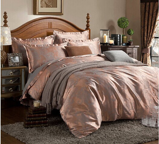 Free shipping Hot 4pcs bed set home textile bed sheet satin jacquard bedding set bed linen quilt queen king HA0173(China (Mainland))