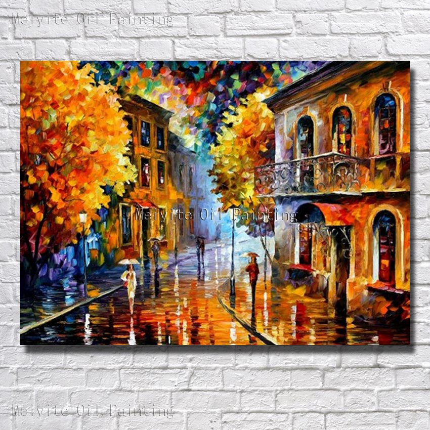 Wall Art Home Decoration Hand Painted Colorful Scenery Oil Painting Canvas Living Room Decor Wall Picture Framed Art