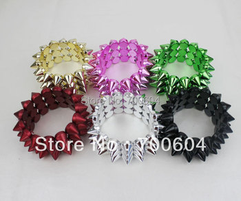 15tooth  New Fashion Jewelry Strench Style Exaggeration Spike Rivet Punk bangle for women men girls ladies vintage elastic