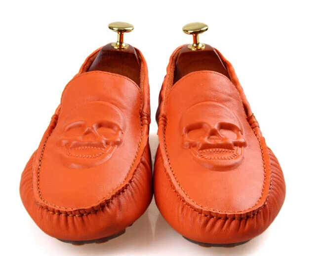 Fashion Popular Men Boat Shoes Handmade Casual Skull Genuine Leather Breathable Moccasins Male Brand Flat Shoes Loafers 8(China (Mainland))