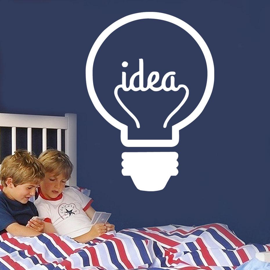 DCTOP Idea Symbol Lightbulb Art Vinyl Wall Stickers Creative Design Wall Decals Murals For Kids Room Living Room Decorations(China (Mainland))