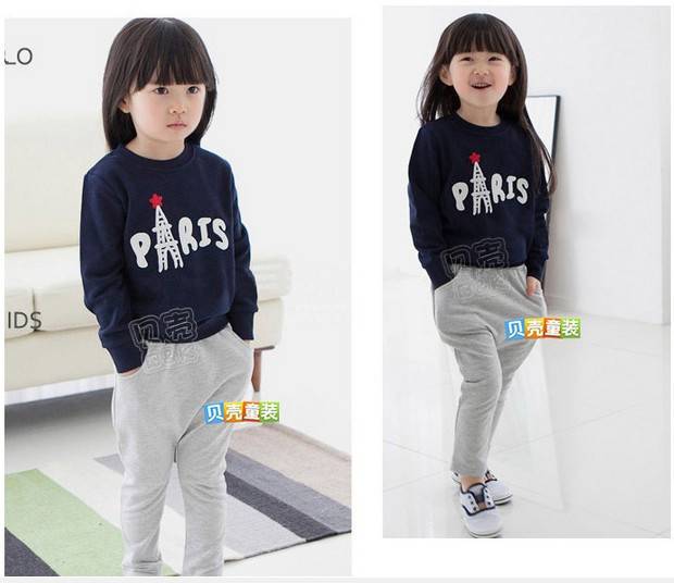 The girl suit 2015 new girl blue leisure suit jacket + pants(China (Mainland))