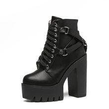 Gdgydh Moda siyah çizmeler Kadın Topuk Bahar Sonbahar Dantel up Yumuşak Deri platform ayakkabılar Kadın Parti yarım çizmeler Yüksek Topuklu(China)