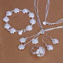 Free Shipping New Arrival!! silver-plated jewelry set Rose Necklace&Bracelet&Earring&Ring  wedding(China (Mainland))