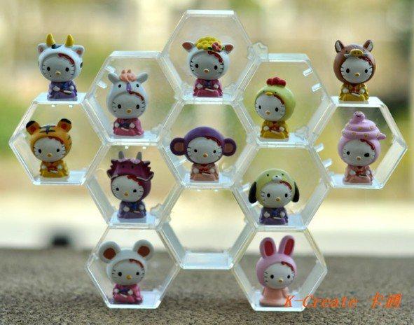 Free shipping 12pcs pvc Hello Kitty 12Zodiac figure toy tall 5cm set.So cute Kitty year birth is or isn't keychain figure choose(China (Mainland))
